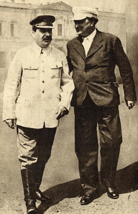 Bulgarian Communist leader Georgi Dimitrov (right) with Josef Stalin