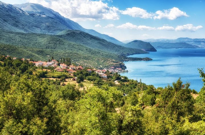 Landscape on the river Ohrid in northern Macedonia