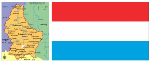 Luxembourg Flag and Map
