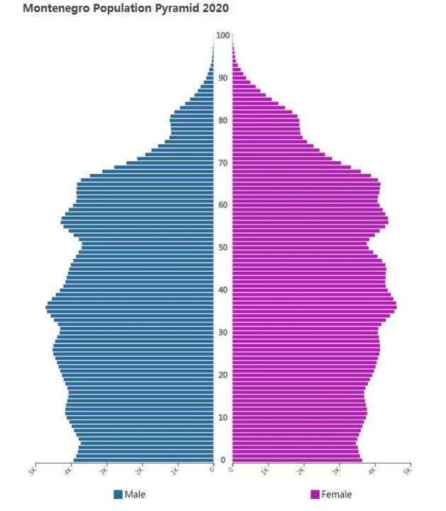 Montenegro Population Pyramid 2020