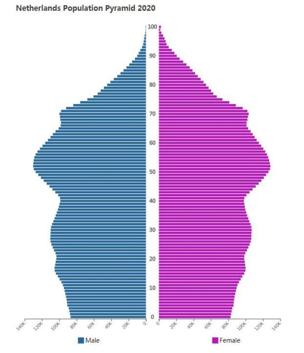 Netherlands Population Pyramid 2020