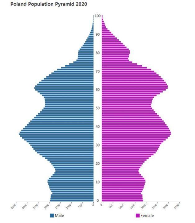 Poland Population Pyramid 2020