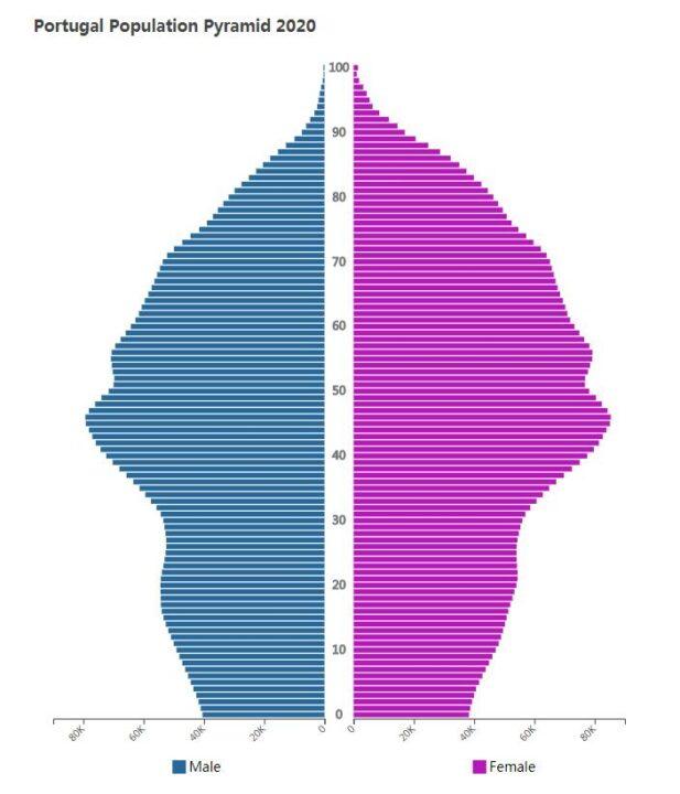 Portugal Population Pyramid 2020