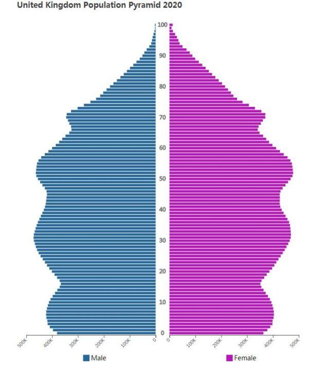 United Kingdom Population Pyramid 2020