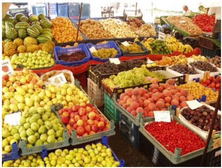 Lush fruit and vegetable markets
