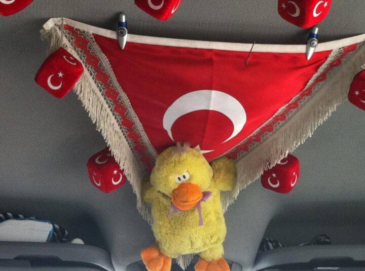 Turkey Flag in the minibus